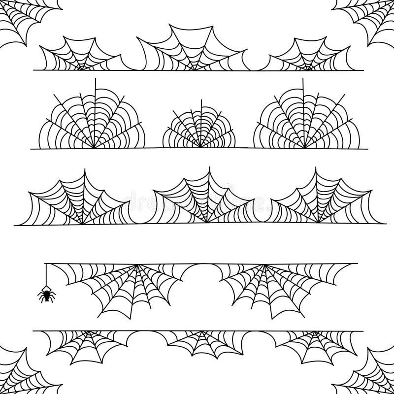 Halloweenowa pajęczyna wektoru ramy granica i dividers z pająk siecią ilustracja wektor