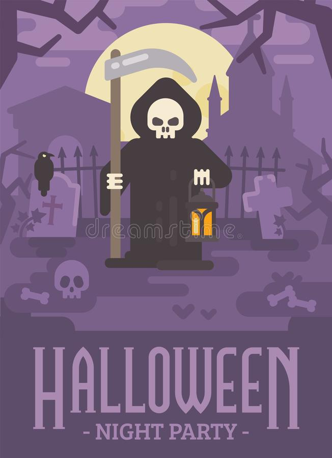 Halloweenowa plakatowa ilustracja Ponura żniwiarka z kosą ilustracji