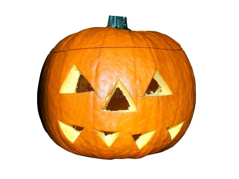 Halloweenowa pomarańczowa bani głowa odizolowywająca przy białym tłem fotografia stock