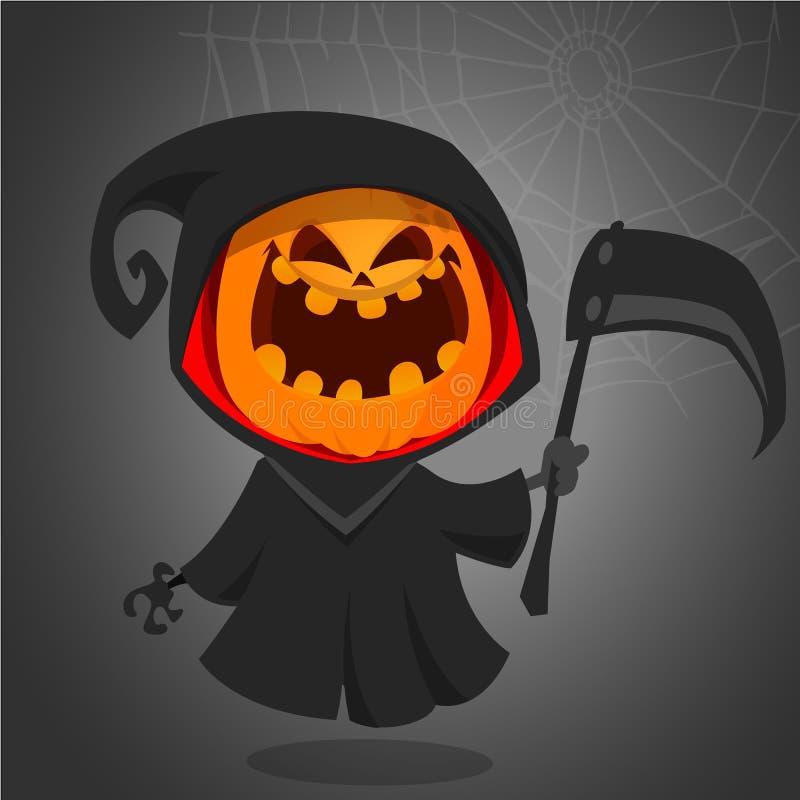 Halloweenowa ponura żniwiarka z bani głową Wektorowa lampionu charakteru maskotka ilustracja wektor