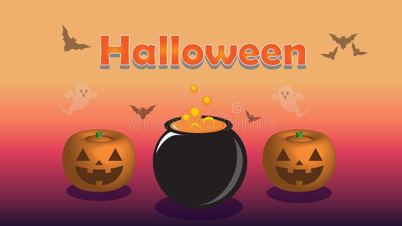 Halloweenowa purpurowa tło ilustracja ilustracji