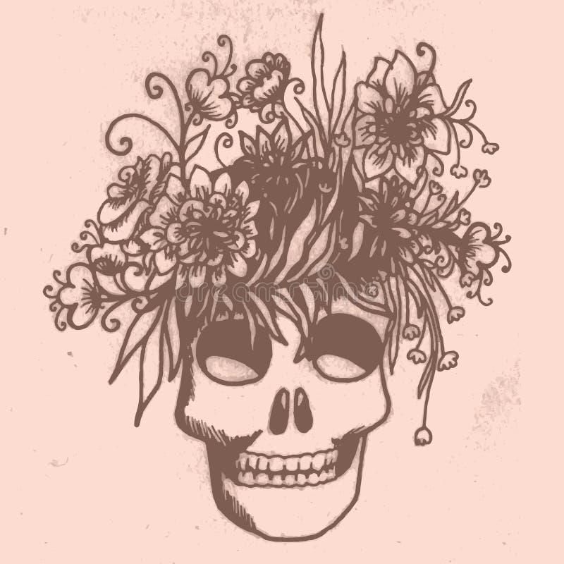 Halloweenowa ręka rysująca karta z czaszką w kwiatach ilustracja wektor