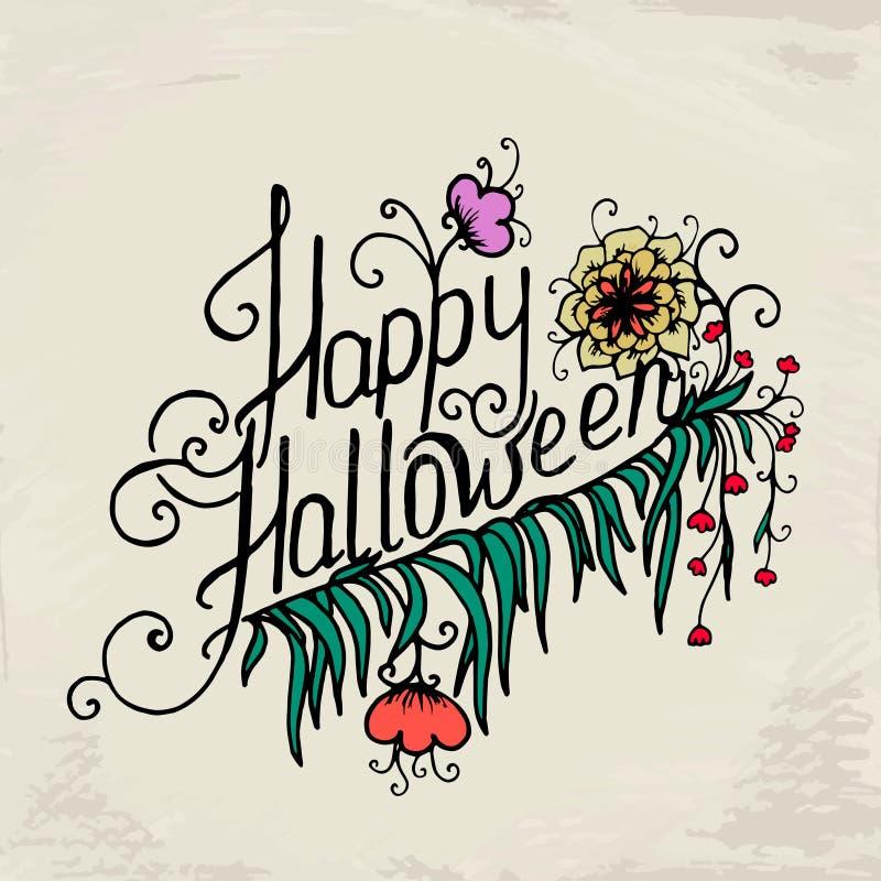 Halloweenowa ręka rysująca karta z czaszką w kwiatach royalty ilustracja