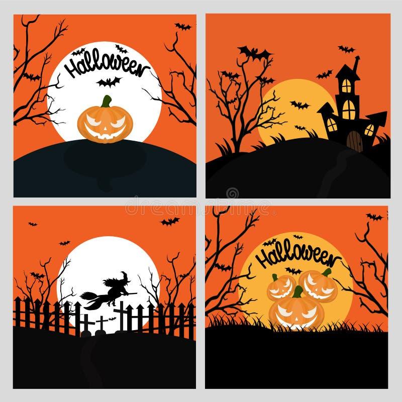 Halloweenowa ręka rysujący zaproszenie lub kartka z pozdrowieniami ustawiający Wektor il ilustracja wektor