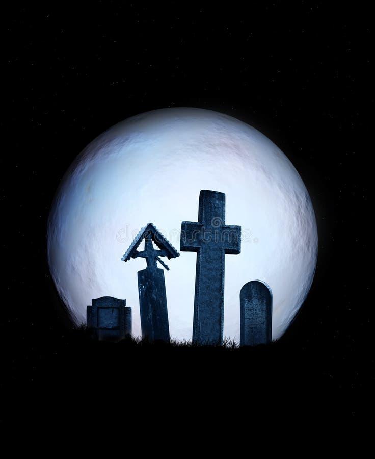 Halloweenowa sceneria z księżyc w pełni i średniowiecznymi kamiennymi krzyżami royalty ilustracja