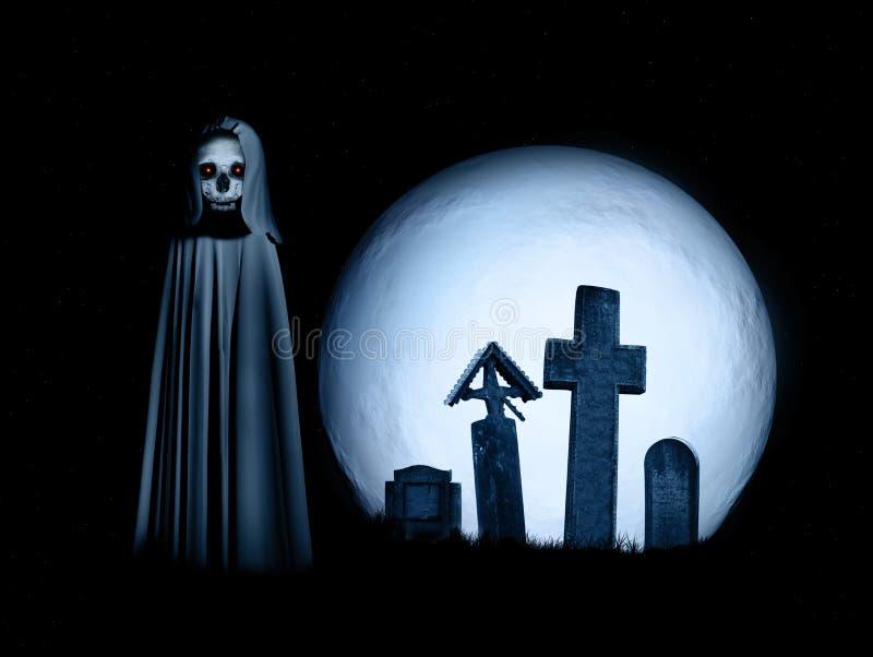 Halloweenowa sceneria z straszną śmiercią, księżyc w pełni i cmentarzem, ilustracji