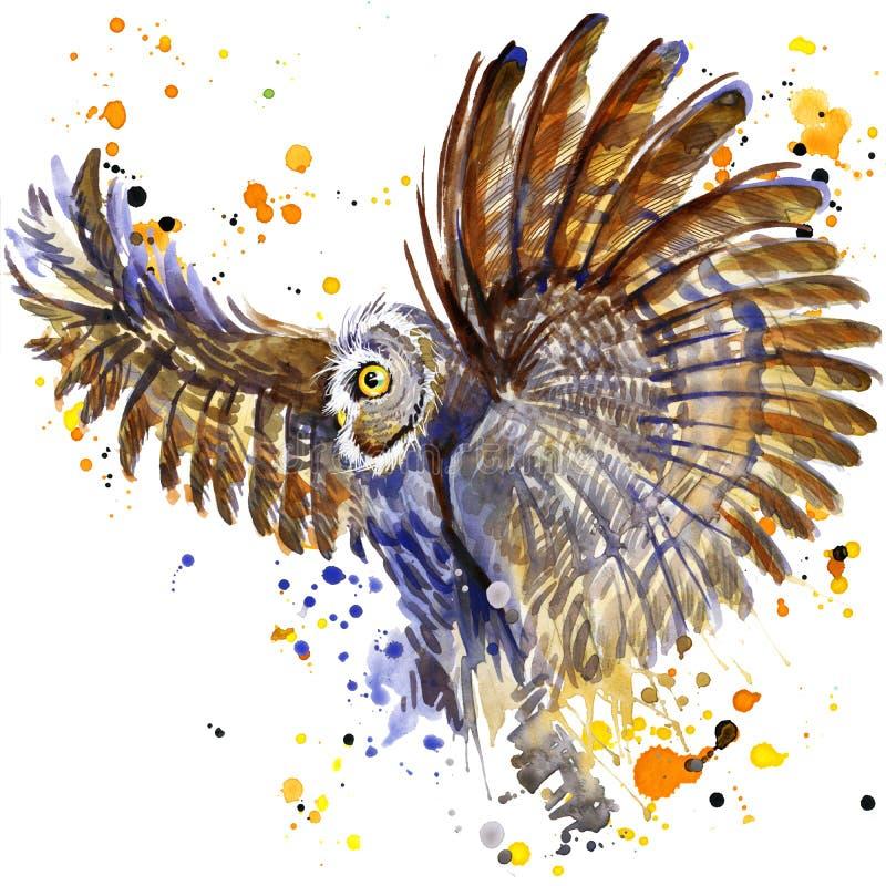 Halloweenowa sowy czarownica akwareli ilustraci tło ilustracja wektor