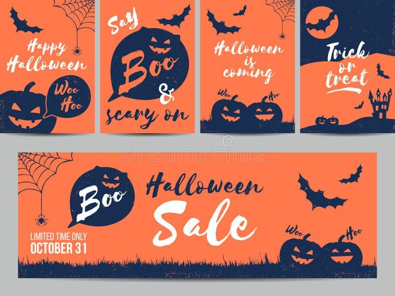 Halloweenowa sprzedaż, partyjni zaproszenia, kartka z pozdrowieniami, plakaty również zwrócić corel ilustracji wektora royalty ilustracja