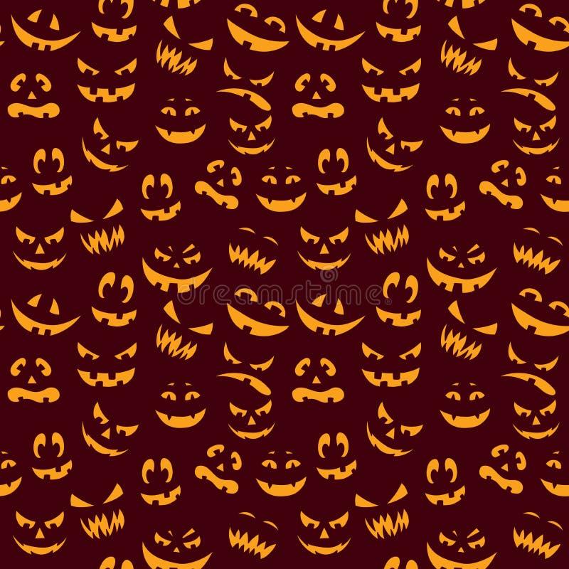 Halloweenowa straszna bania stawia czoło wektorowego bezszwowego wzór ilustracji