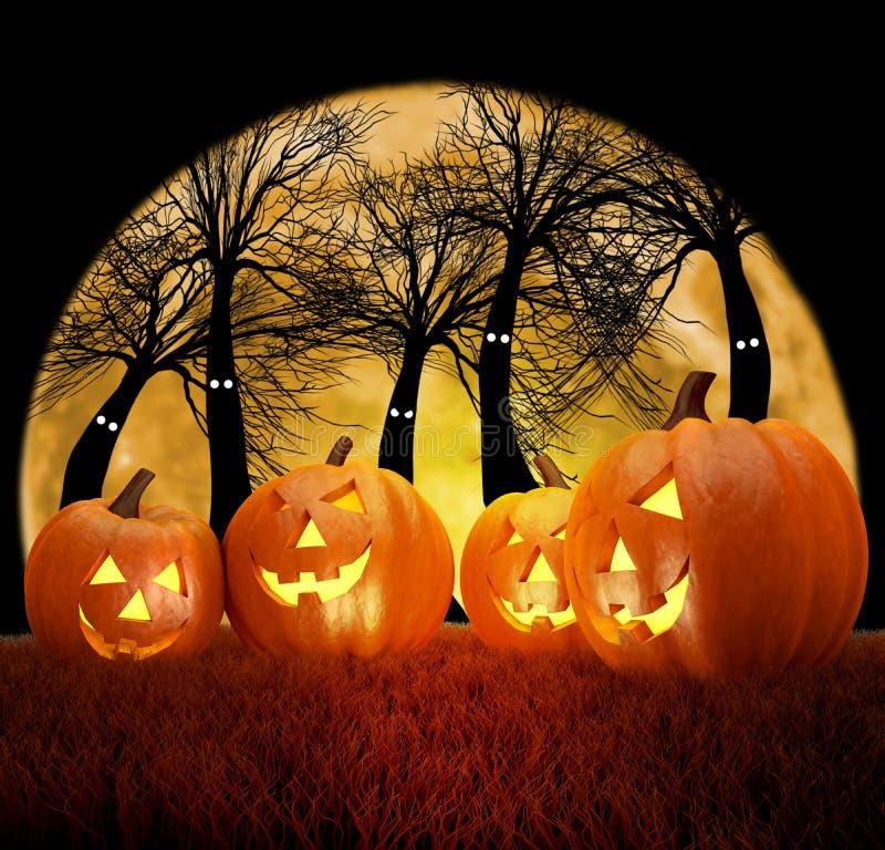 Halloweenowa tło scena z księżyc w pełni, baniami i ciemnym lasem, ilustracja wektor