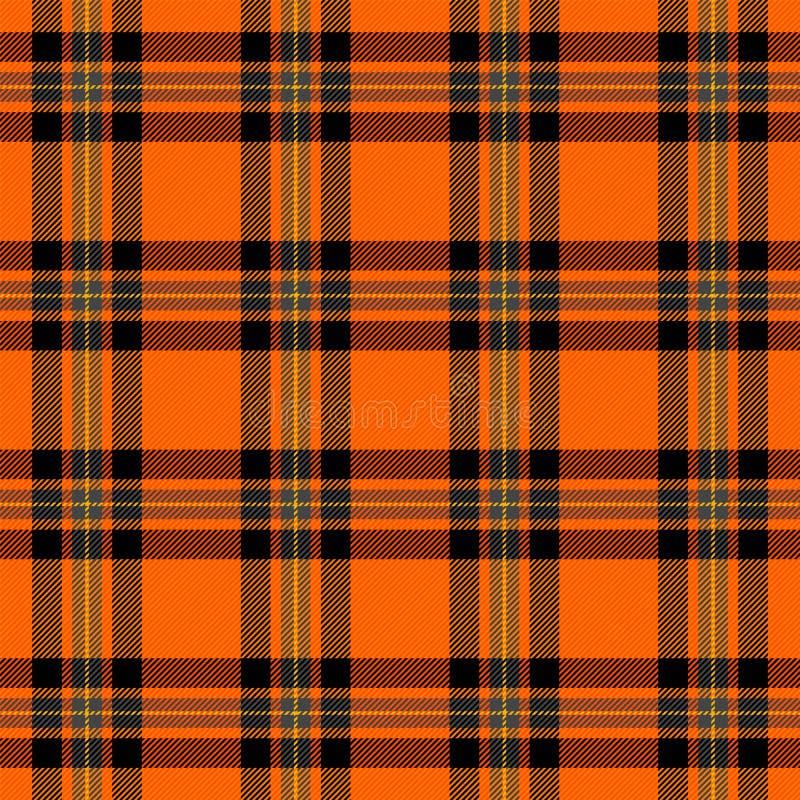 Halloweenowa tartan szkocka krata Deseniowa Szkocka klatka ilustracja wektor