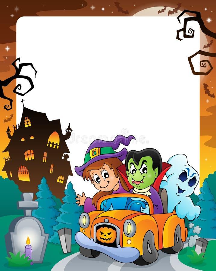 Halloweenowa temat rama 5 ilustracji