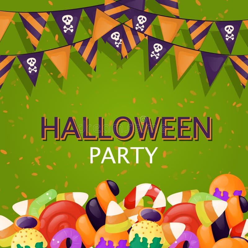 Halloweenowa trikowa lub funda tło cukierków jedzenia przyjęcia ilustracja Jesieni straszny straszny invitatio royalty ilustracja