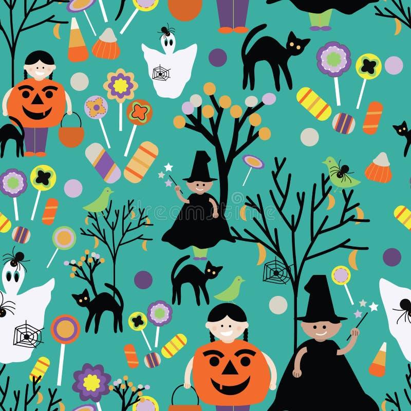 Halloweenowa trikowa lub funda zieleń tupocze ilustracji