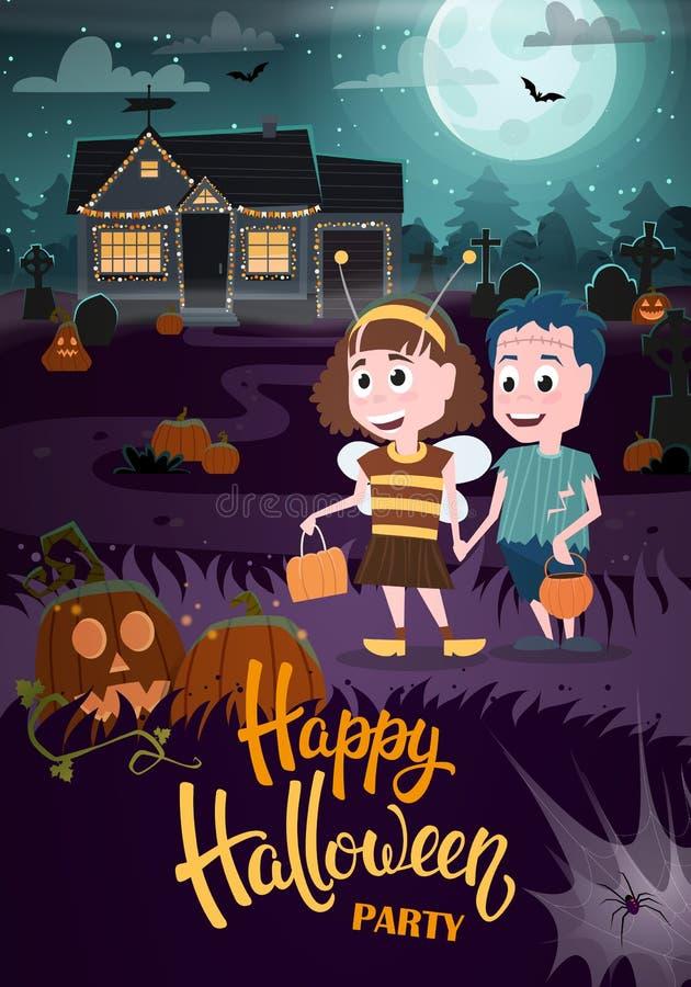 Halloweenowa ulotka z żywym trupem, pszczołą i nawiedzającym domem, ilustracji