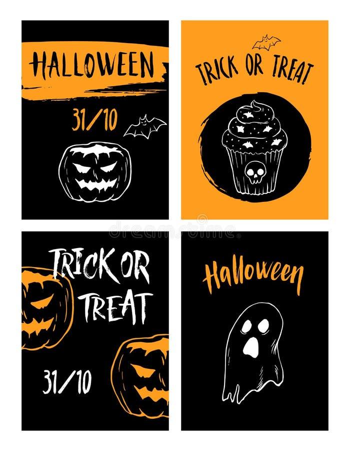 Halloweenowa ustalona ręka rysujący ulotka projekta szablonu wektor royalty ilustracja