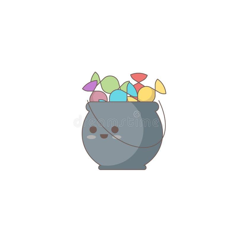 Halloweenowa wakacyjna ikona, Kotłowa cukierek ikona royalty ilustracja
