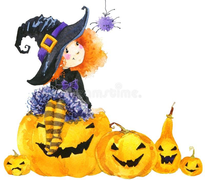Halloweenowa wakacyjna małej dziewczynki czarownica, bania i ilustracja wektor