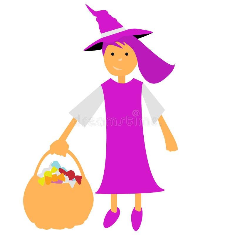 Halloweenowa wektorowa czarownica z koszem i zieleń ubieramy ilustracji
