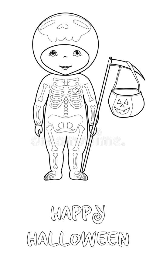 Halloweenowa wektorowa kolorystyki strona z ślicznym koścem ilustracja wektor