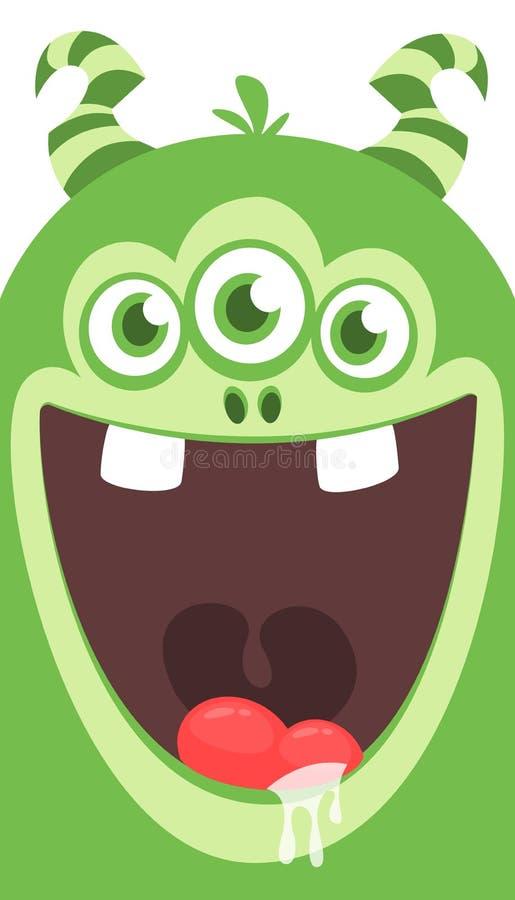 Halloweenowa zieleń uzbrajać w rogi kreskówka potwór z thee ono przygląda się również zwrócić corel ilustracji wektora ilustracja wektor