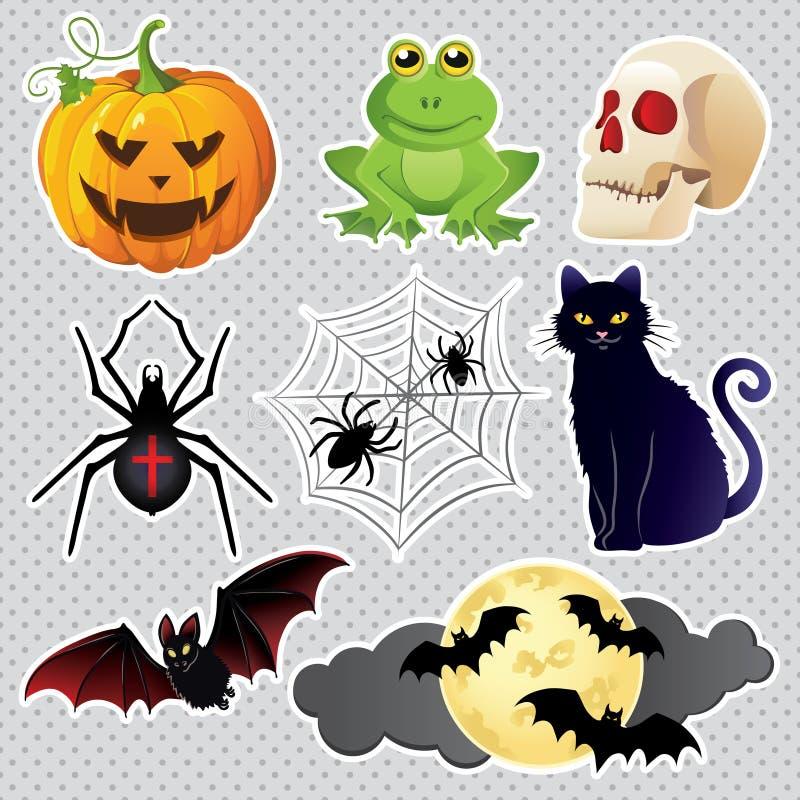 Halloweenowe świętowanie ikony ustawiać royalty ilustracja