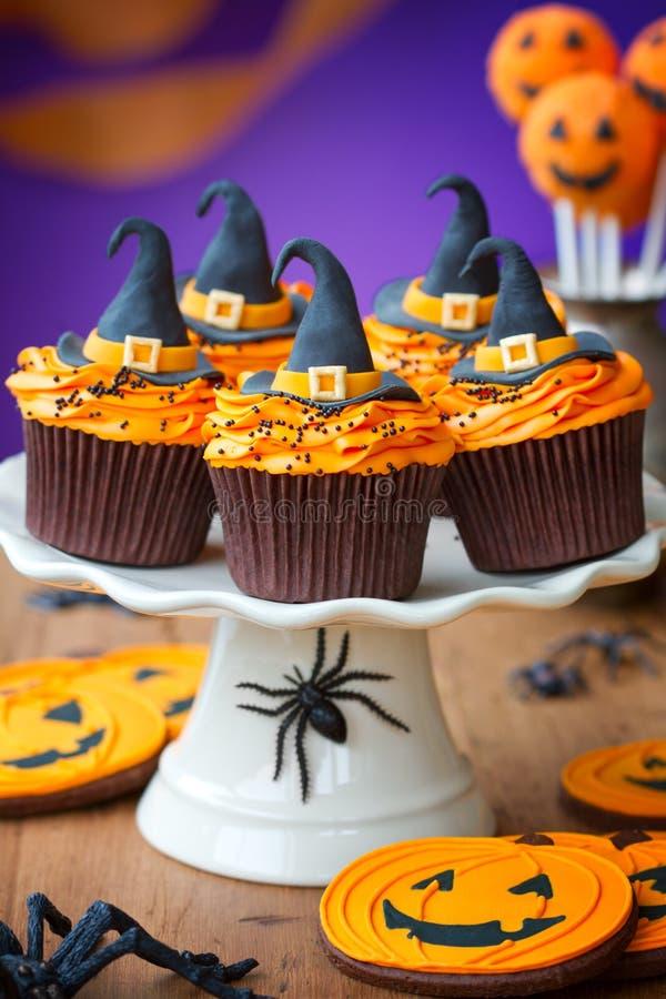 Halloweenowe babeczki obrazy stock