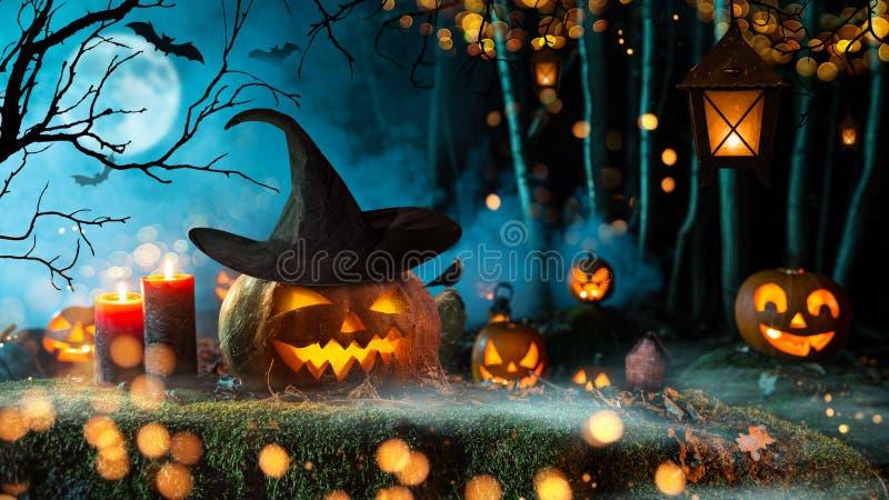 Halloweenowe banie na ciemnym strasznym lesie obrazy royalty free