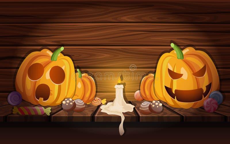 Halloweenowe banie W Drewnianym stajnia składzie ilustracji