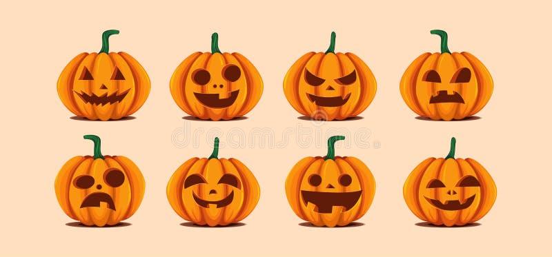 Halloweenowe banie w wektorze z setem różne twarze dla ikon i dekoracje w jaskrawym pomarańczowym tle wektor ilustracja wektor