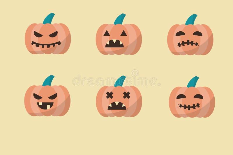 Halloweenowe banie wewnątrz z setem różne twarze dla ico royalty ilustracja