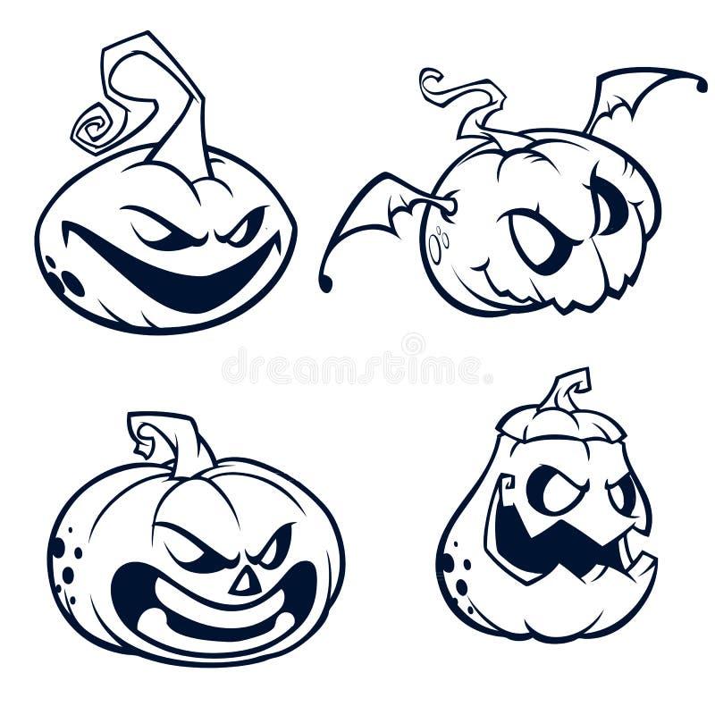 Halloweenowe banie wyginali się z dźwigarki o latarniową twarzą chłopiec kreskówka zawodzący ilustracyjny mały wektor Uderzenia i royalty ilustracja