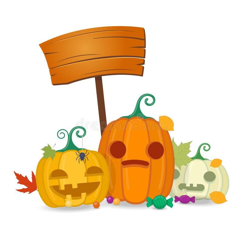 Halloweenowe banie z drewnianą deską, cukierkami i jesień liśćmi, ilustracja wektor