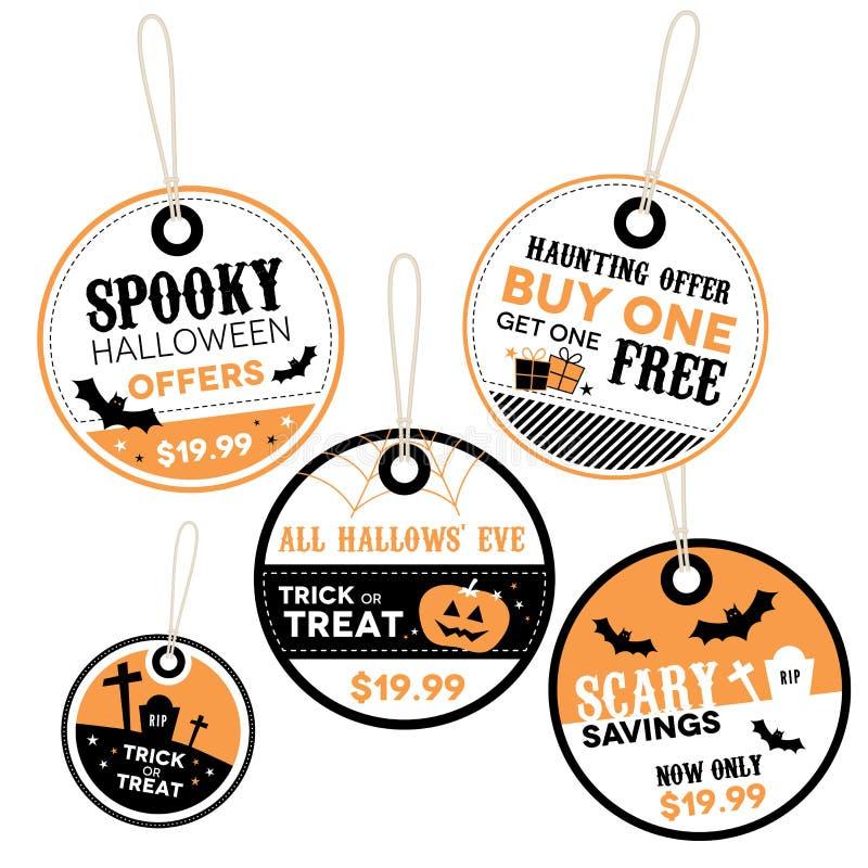 Halloweenowe cen detalicznych etykietki royalty ilustracja