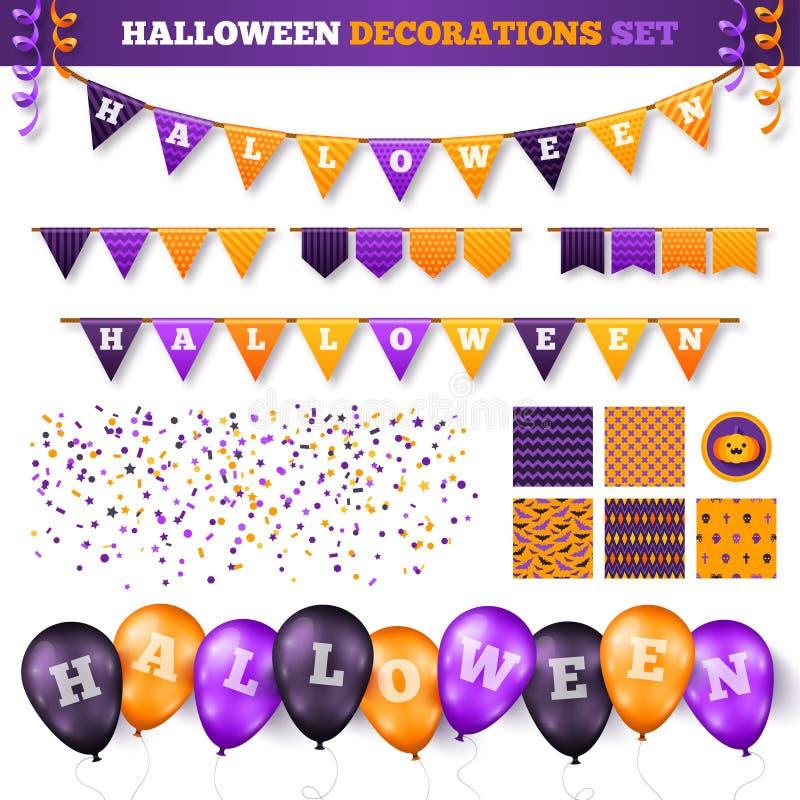Halloweenowe dekoracje Ustawiać na bielu ilustracji
