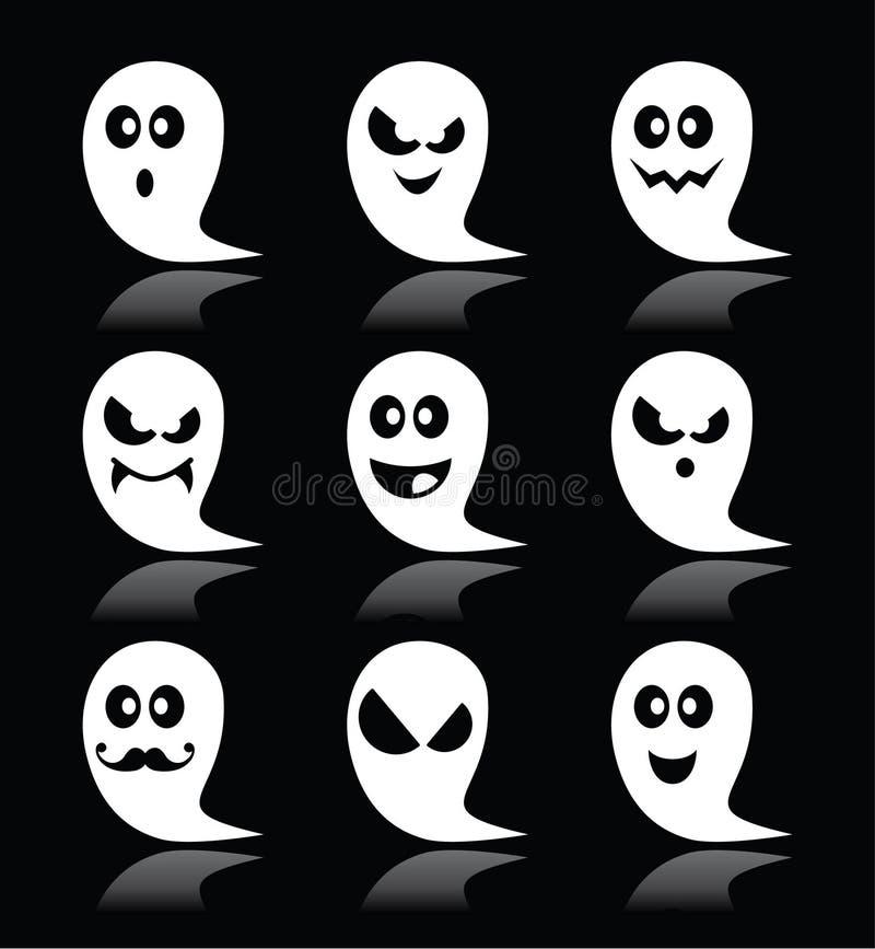 Halloweenowe duch ikony ustawiać na czarnym tle royalty ilustracja