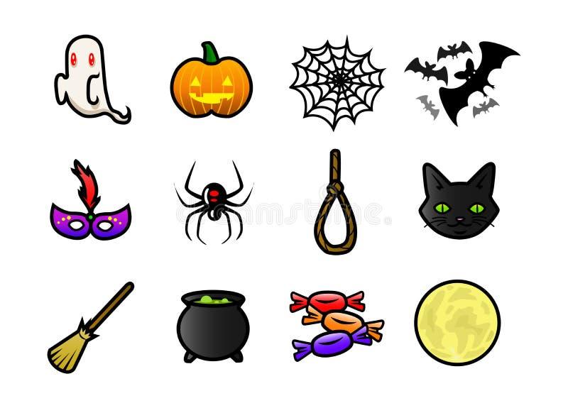 Halloweenowe ikony ilustracji