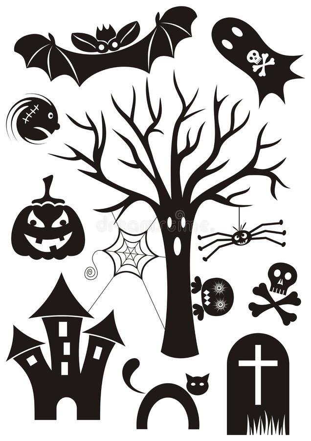 Halloweenowe ikony royalty ilustracja