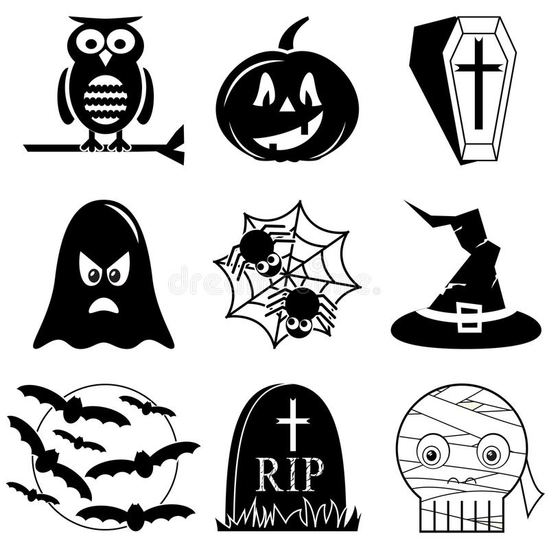 Halloweenowe ikony ustawiać w czarny i biały wliczając sowy, bania, trumna z krzyżem, duch, pająk na pająk sieci, czarownica kape ilustracji