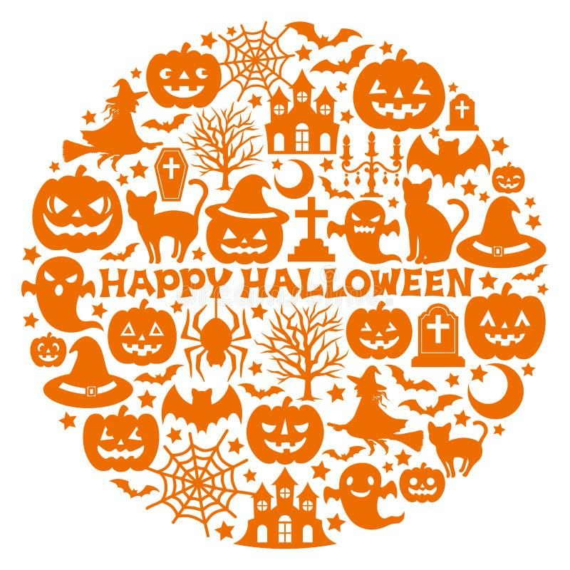 Halloweenowe ikony w okręgu. royalty ilustracja