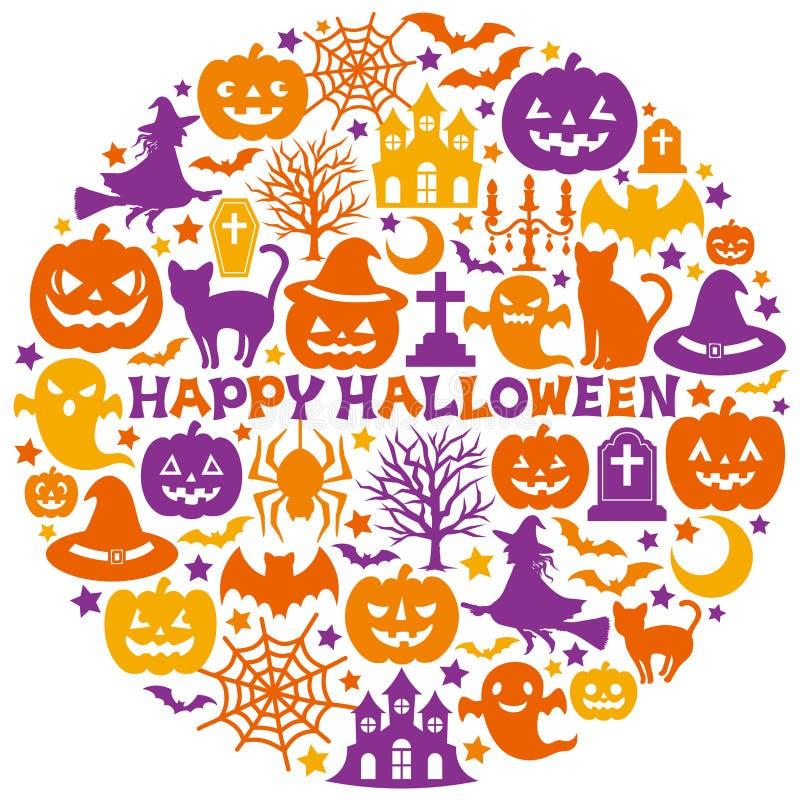 Halloweenowe ikony w okręgu ilustracja wektor
