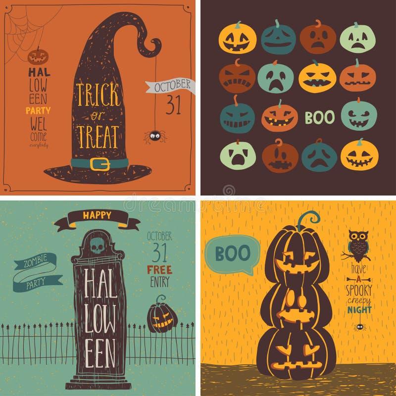 Download Halloweenowe Karty Ustawiać - Ręka Rysujący Styl Ilustracja Wektor - Ilustracja złożonej z 1, ghosted: 57659158