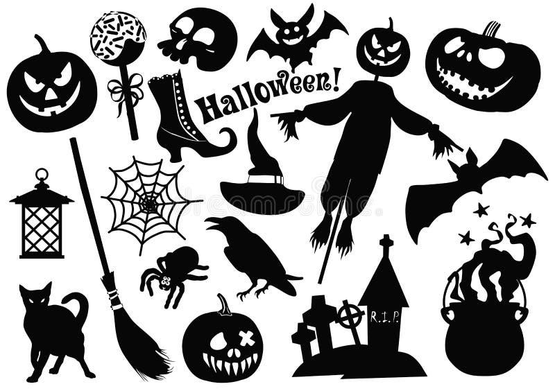 Halloweenowe majcher ikony ustawiać sztuczka przysmaki również zwrócić corel ilustracji wektora royalty ilustracja