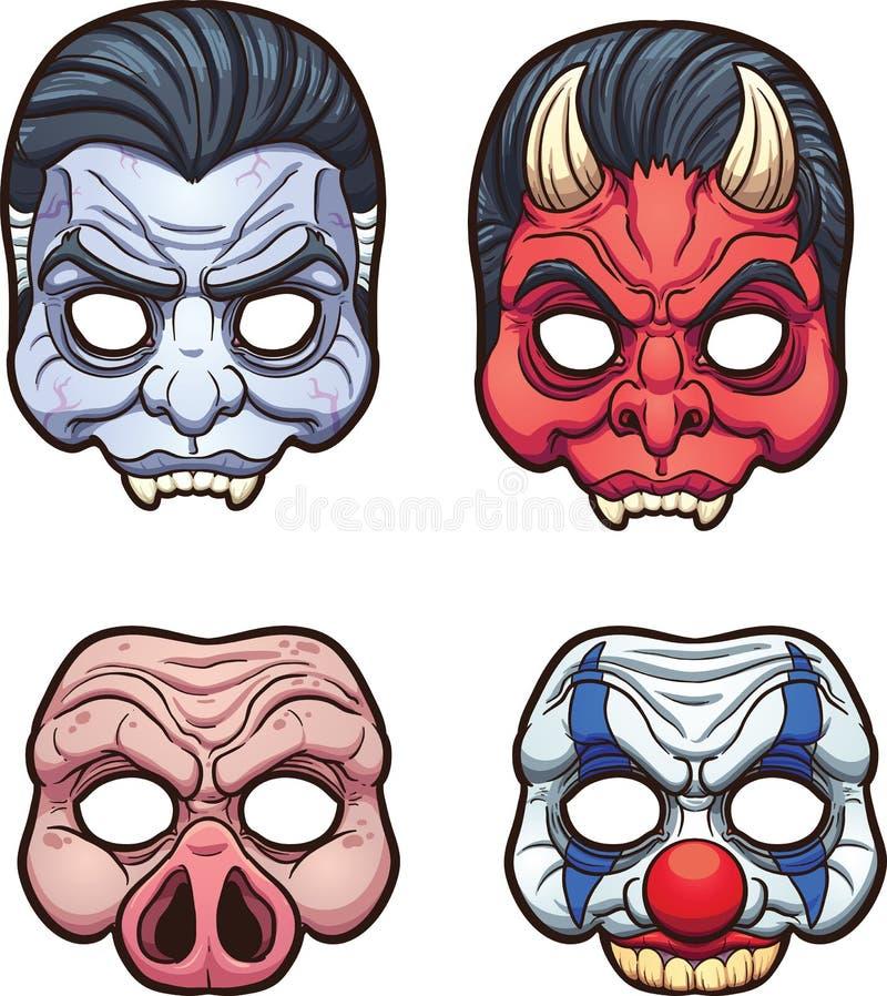 Halloweenowe maski ilustracja wektor