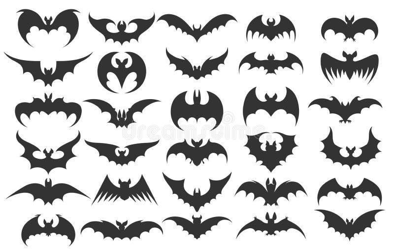 Halloweenowe nietoperz ikony royalty ilustracja