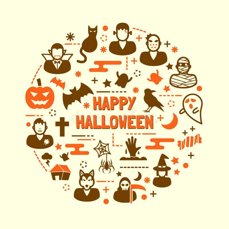 Halloweenowe nocy ikony ustawiać ilustracja wektor