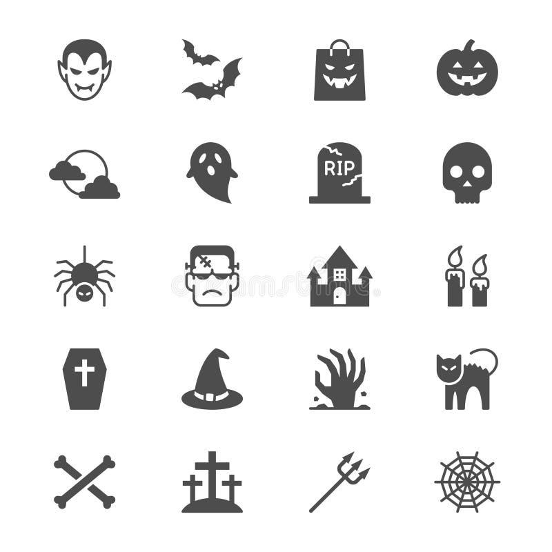 Halloweenowe płaskie ikony royalty ilustracja