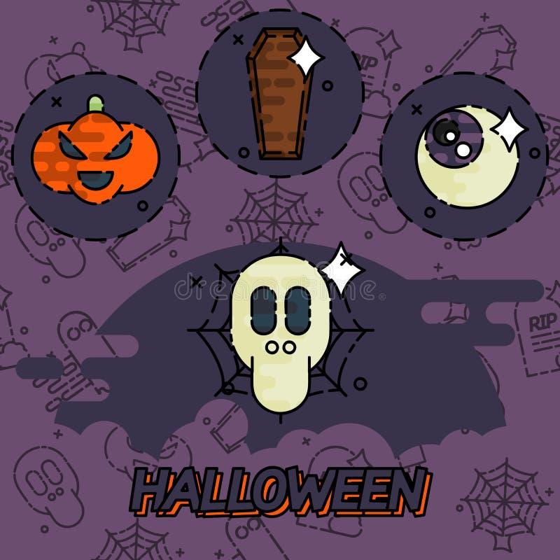Halloweenowe płaskie pojęcie ikony ilustracja wektor