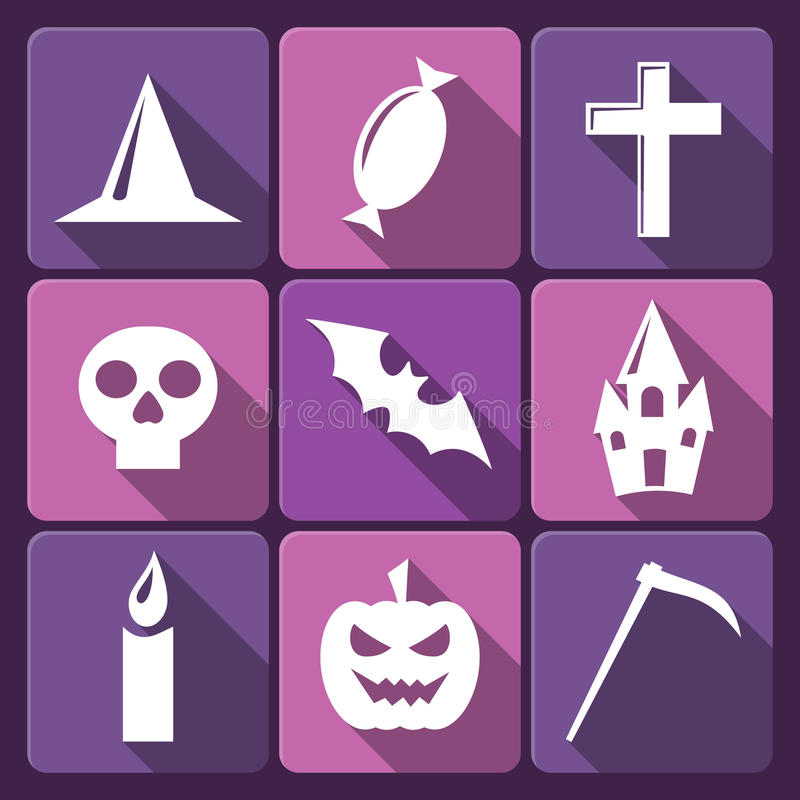 Halloweenowe płaskie wektorowe ikony z długim cieniem. Set royalty ilustracja