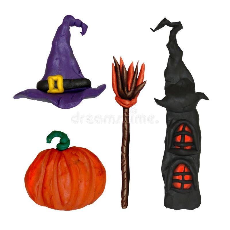 Halloweenowe plastelin rzeźby ustawiać ilustracja wektor